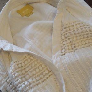Boho 100% cotton midi dress with lace paneling